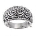 Sterling Silver Marcasite Ring Size 7
