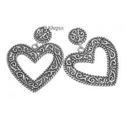 Sterling Silver Diamond Cut Heart Earrings