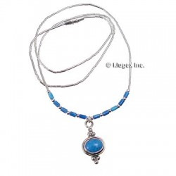 Liquid Silver Necklace W/ Lapis