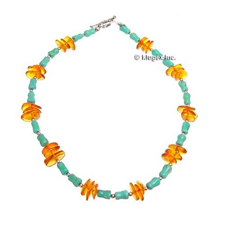 Sterling Silver Turquoise & Amber Necklace