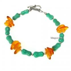 Southwest Turquoise & Amber Toggle Bracelet