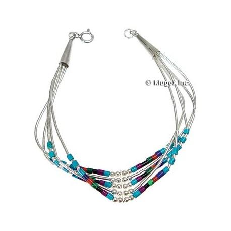 Liquid silver & Multi Beads Bracelet