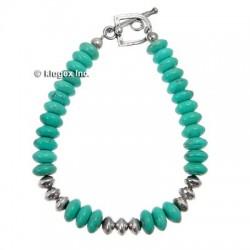 Southwestern Turquoise & Silver Beads Bracelet