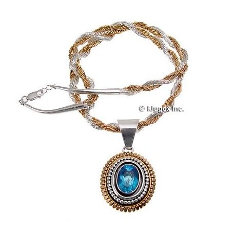 Sterling & 12K Gold Blue Topaz Pendant W/Necklace