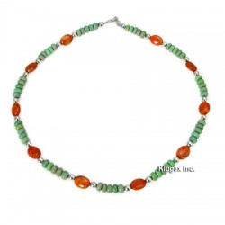 Southwest Sterling Turquoise and Coral Necklace