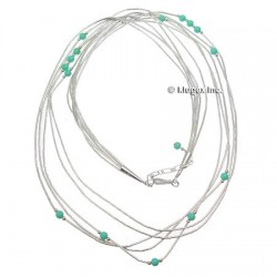 Liquid Silver Necklace W/ Turquoise