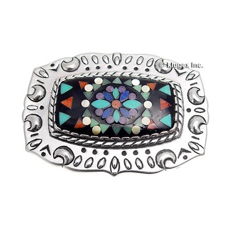 Sterling Silver Stained Glass Micro Inlay Belt Buckle