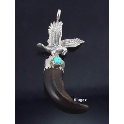 Native American Sterling Silver Coyote Claw Eagle Pendant with Turquoise