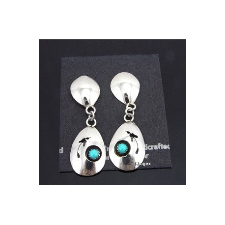 Native American Sterling Silver Earrings w Turquoise