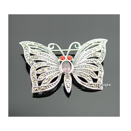 Sterling Silver Butterfly Marquisate Pin