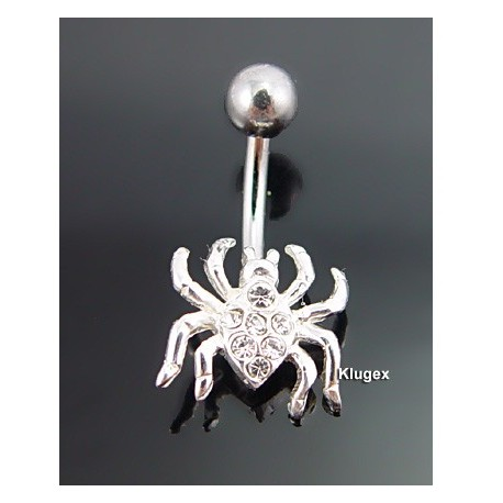 Sterling Silver Belly Piercing Spider