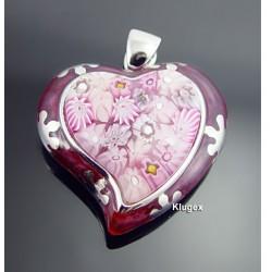 Murano Millacreli Sterling Silver Heart Pendant