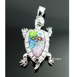 Murano Millefiori Sterling Silver Turtle Pendant