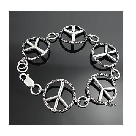 Sterling Silver Peace Sign Link Bracelet 7 Inch