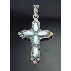 Sterling Silver Cross Pendant with MOP