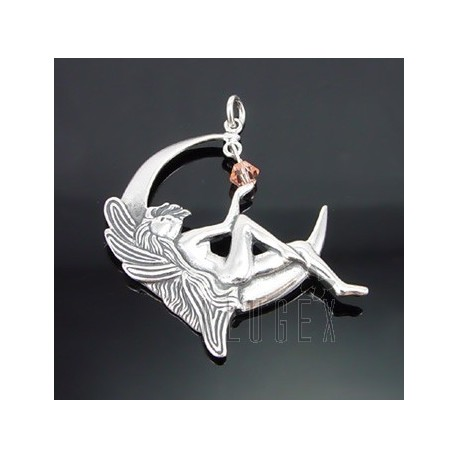 Sterling Silver Fairy Pendant with Crystal