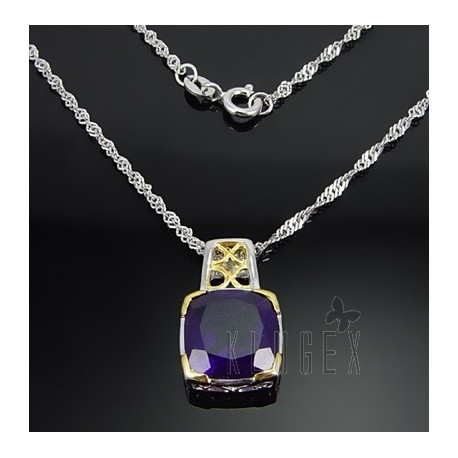 Sterling Silver Necklace with Genuine Amethyst