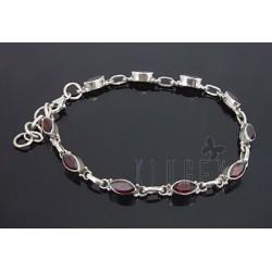 Sterling Silver Bracelet with Garnet