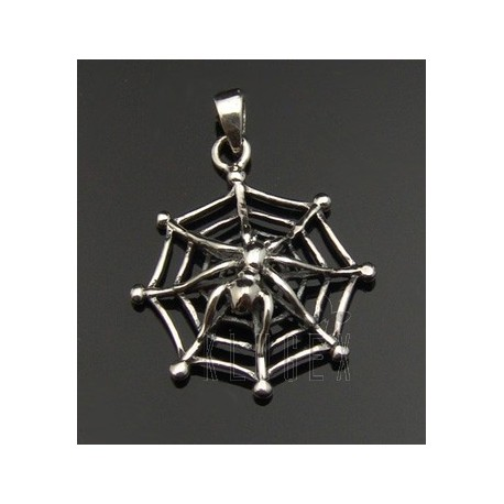 Sterling Silver Spider on the Net Pendant
