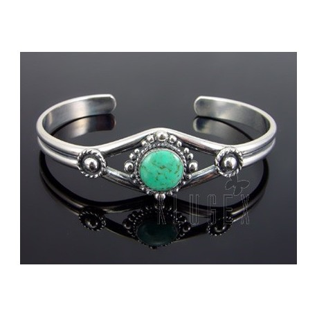 Southwest Sterling Silver Cuff w Turquoise