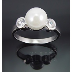 Sterling Silver Ring w Pearl & CZ Size 7