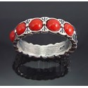 Southwestern Sterling Silver Ring w Coral Size 7