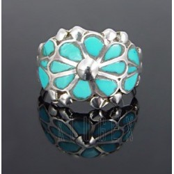 Native American Sterling Silver Ring w Turquoise Size 8.5