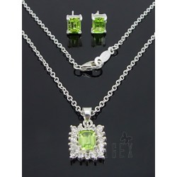 Sterling Silver Necklace and Earring Set w CZ