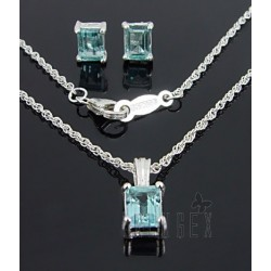 Sterling Silver Necklace and Earring Set w Topaz