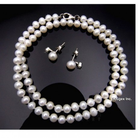 White Pearl Necklace and Earrings Set