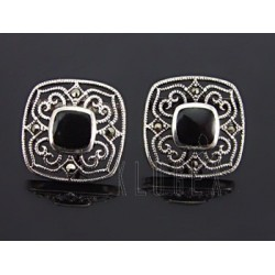 Sterling Silver Earrings with Onyx and Marcasite