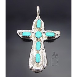 Native American Sterling Cross Pendant w Turquoise