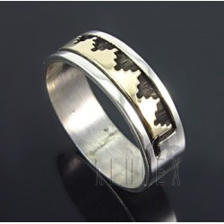 Native American Sterling & 14K Gold Ring Size 9