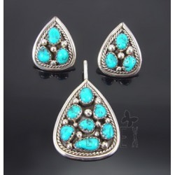 Native American Sterling Silver Earrings & Pendant Set w Turquoise