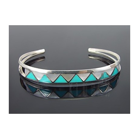 Native American Sterling Silver Cuff w Turquoise & MOP