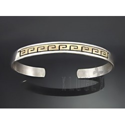 Native American Sterling Silver & 14K Gold Cuff
