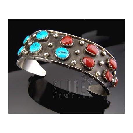 Native American .925 Sterling Cuff w Gemstones