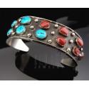 Native American .925 Sterling Cuff w Gemstones