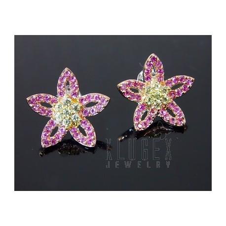 Sterling Silver Flower Earrings w CZ