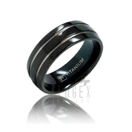 Black Titanium Wedding Band Ring Size 8