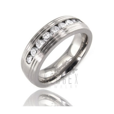 Titanium Band Ring w CZ Size 8