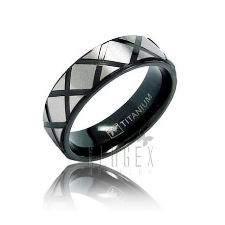 Black Titanium Band Ring Size 8