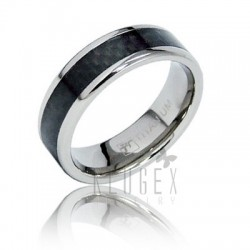Titanium Carbon Fiber Inlay Band Ring