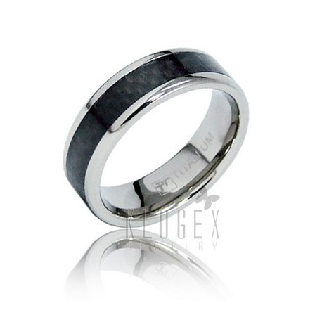 Titanium Carbon Fiber Inlay Band Ring Size 8