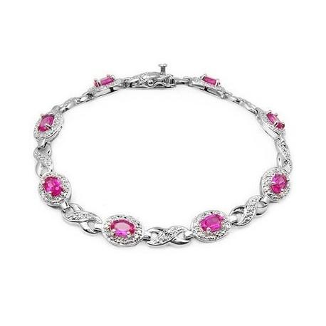 Sterling Silver Bracelet w Sapphire & Diamond