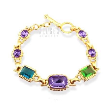 Sterling Silver Vermeil Bracelet w CZ