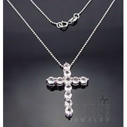 Sterling Silver Cross Pendant W Topaz & Chain