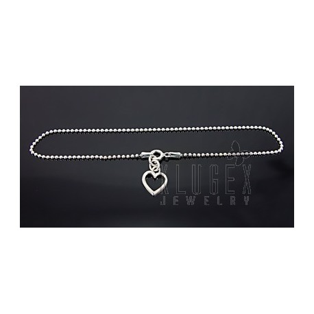 Sterling Silver Anklet w Heart Charm