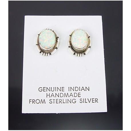 Native American Sterling Silver Earrings w Opal