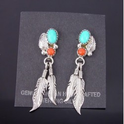 Native American Sterling Silver Earrings w Turquoise & Coral